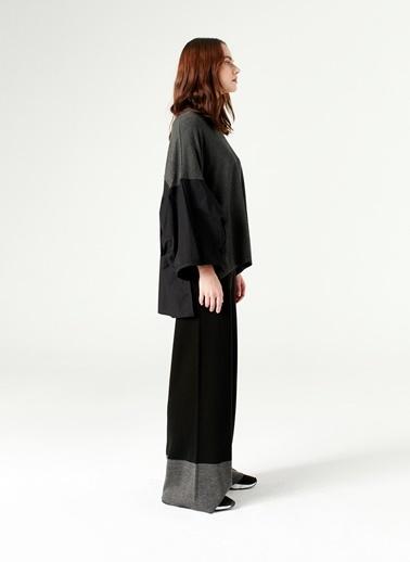 Mizalle Çift Renk Triko Pantolon  Siyah